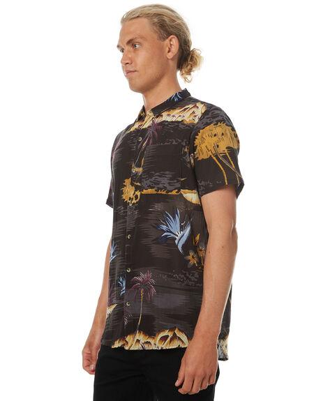 TROPICAL BLACK MENS CLOTHING ROLLAS SHIRTS - 150403003