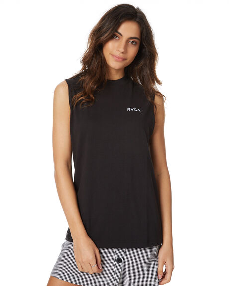 BLACK WOMENS CLOTHING RVCA SINGLETS - R271002BLK