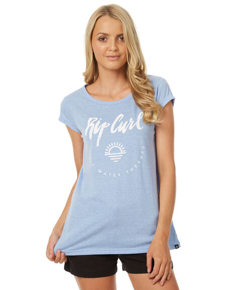 LIGHT BLUE WOMENS CLOTHING RIP CURL TEES - GTESV11080