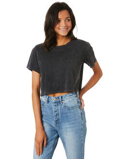 BLACK WOMENS CLOTHING THE PEOPLE VS TEES - MOTHCROPTEE-BLK