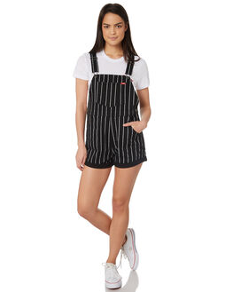JAILBREAK BLACK WOMENS CLOTHING WRANGLER PLAYSUITS + OVERALLS - W-951395-KU3