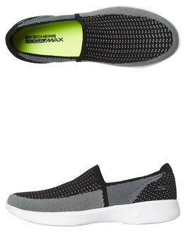 BLACK WHITE WOMENS FOOTWEAR SKECHERS SLIP ONS - 14924BKW