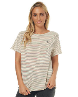 NATURAL STRIPE WOMENS CLOTHING THRILLS TEES - WTS7-125AZNSTR