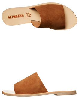 TAN SUEDE WOMENS FOOTWEAR SOL SANA SLIDES - SS172S401TAN