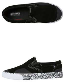 BLACK WHITE MENS FOOTWEAR ELEMENT SLIP ONS - 183901BKWH