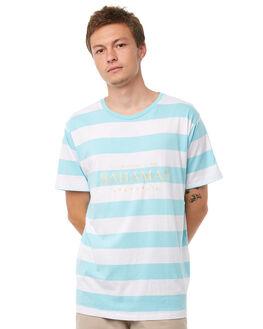 AQUA STRIPE MENS CLOTHING BARNEY COOLS TEES - 136-CR1ASTRP