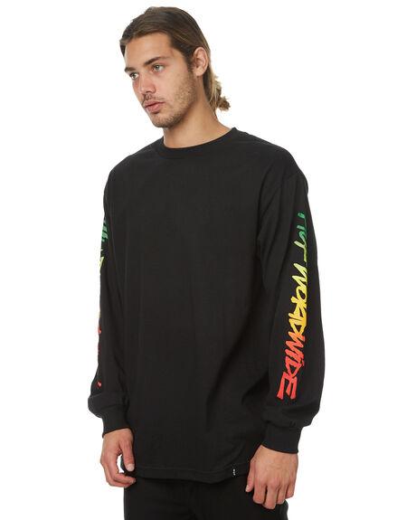 BLACK MENS CLOTHING HUF TEES - TS00096BLK