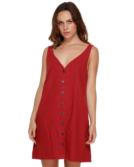 BRICK RED WOMENS CLOTHING RVCA DRESSES - RV-R291760-BRD