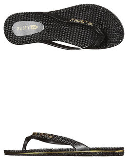 BLACK 1 WOMENS FOOTWEAR RUSTY THONGS - FOL0125BLK1