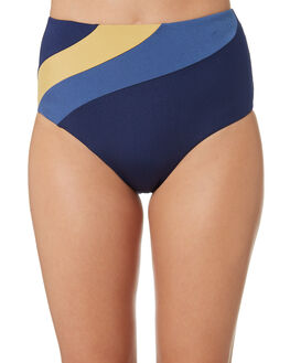 NAVY GOLD WOMENS SWIMWEAR JETS BIKINI BOTTOMS - J3632NVGLD