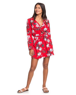 CHINESE RED TROPICAL WOMENS CLOTHING ROXY PLAYSUITS + OVERALLS - ERJWD03381-RQQ8
