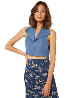 DUSTY BLUE OUTLET WOMENS AFENDS FASHION TOPS - W191107DBLU