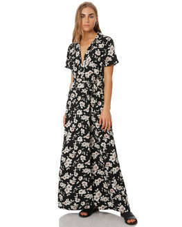 BLACK FLORAL PRINT WOMENS CLOTHING VOLCOM DRESSES - B1341918BFP