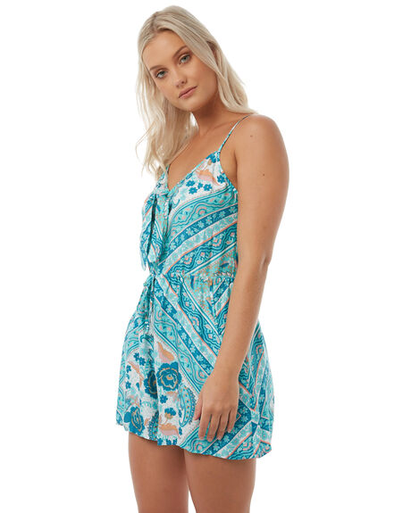 TURQUOISE WOMENS CLOTHING ARNHEM PLAYSUITS + OVERALLS - ARROTU01TURQ