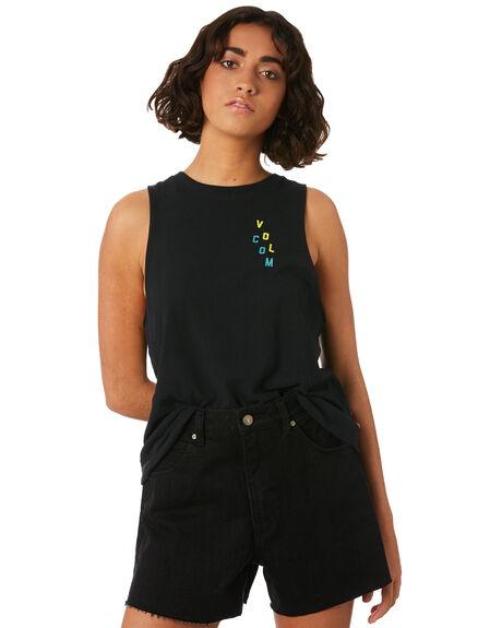 BLACK WOMENS CLOTHING VOLCOM SINGLETS - B3521807BLK