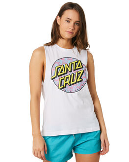WHITE WOMENS CLOTHING SANTA CRUZ SINGLETS - SC-WTC9909WHI