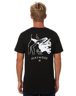 BLACK MENS CLOTHING MAYWOOD TEES - MWLS-004BLK