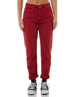 RED WOMENS CLOTHING THRILLS JEANS - WTDP-407HRED