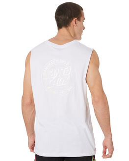 WHITE OUTLET MENS SANTA CRUZ SINGLETS - SC-MTD9342WHT