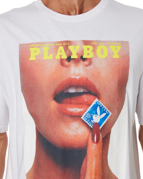 WHITE OUTLET MENS PLAYBOY TEES - PB4200101WH