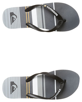 BLACK ORANGE GREY MENS FOOTWEAR QUIKSILVER THONGS - AQYL100234XKNS
