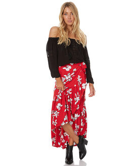 RED FLOWER WOMENS CLOTHING RUE STIIC SKIRTS - CC09FLOW