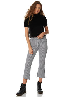 BLACK WHITE WOMENS CLOTHING AFENDS JEANS - W182451BLACK