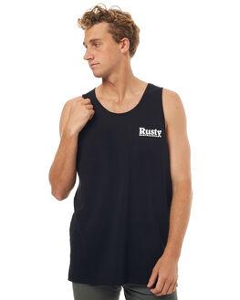 BLACK MENS CLOTHING RUSTY SINGLETS - TSM0439BLK