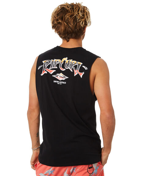 WASHED BLACK MENS CLOTHING RIP CURL SINGLETS - CTEPF28264