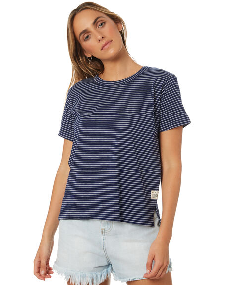 NAVY WHITE STRIPE WOMENS CLOTHING ALL ABOUT EVE TEES - 6423019STR2
