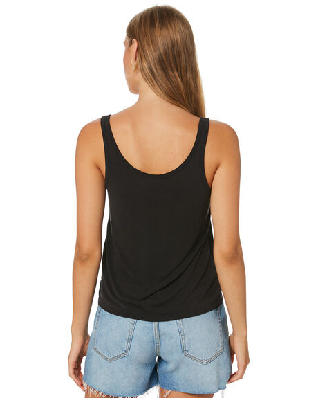 BLACK WOMENS CLOTHING RHYTHM SINGLETS - OCT19W-WT01BLK