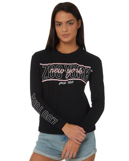 BLACK WOMENS CLOTHING ZOO YORK TEES - ZY-WLC8372BLK