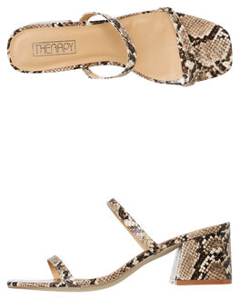 TAUPE SNAKE WOMENS FOOTWEAR THERAPY FASHION SANDALS - SOLE-6122TSNAK