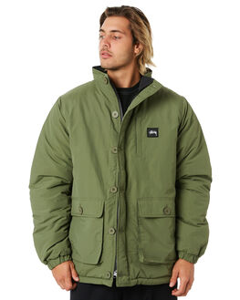 FLIGHT GREEN BLACK MENS CLOTHING STUSSY JACKETS - ST006508FGBK