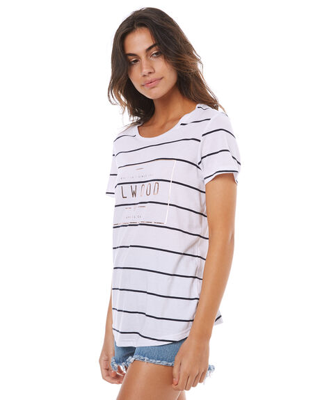 NAVY STRIPE WOMENS CLOTHING ELWOOD TEES - W74110NAVY
