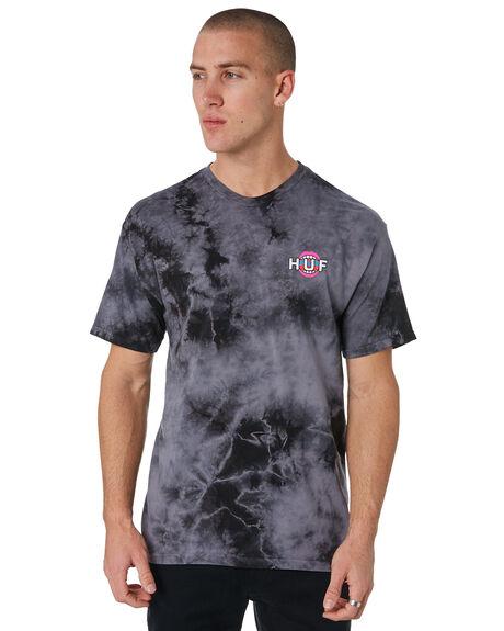 BLACK MENS CLOTHING HUF TEES - TS00361-BLACK
