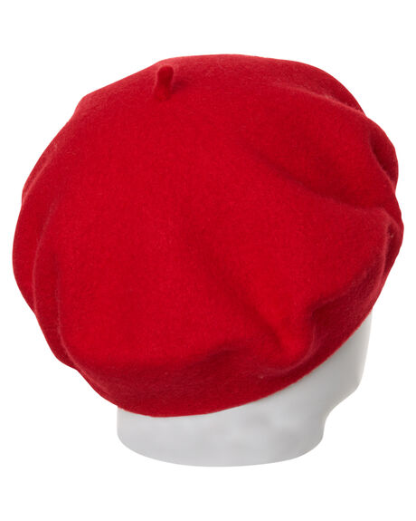 RED WOMENS ACCESSORIES LACK OF COLOR HEADWEAR - BERETRED1RED