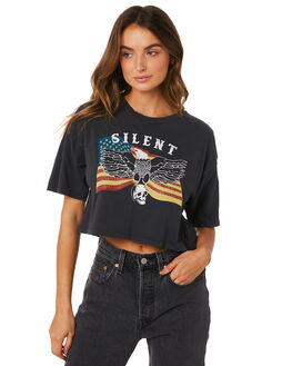 WASHED BLACK WOMENS CLOTHING SILENT THEORY TEES - 6033049-WBLK