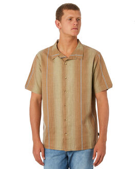 TAN FADE STRIPE MENS CLOTHING THRILLS SHIRTS - TW9-213CZTANST