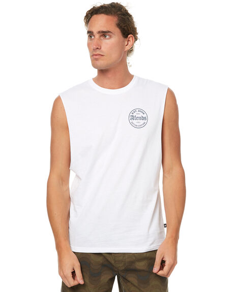 WHITE MENS CLOTHING AFENDS SINGLETS - 01-05-105WHT