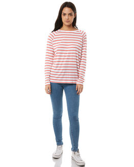 CORAL WHITE STRIPE WOMENS CLOTHING SWELL TEES - S8182101CLWHT