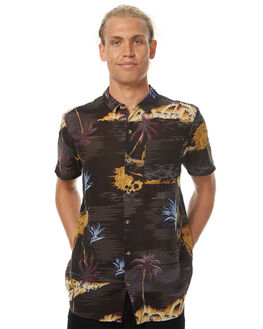 TROPICAL BLACK MENS CLOTHING ROLLAS SHIRTS - 150403003