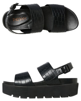 BLACK CROC WOMENS FOOTWEAR THERAPY FASHION SANDALS - ED2454BLK