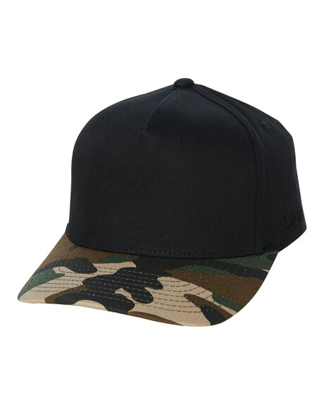 GREEN CAMO BLACK MENS ACCESSORIES FLEX FIT HEADWEAR - 181000GCB