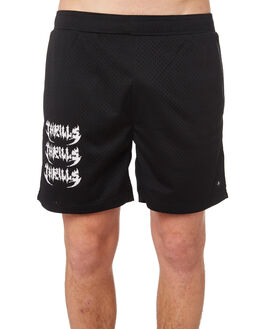 BLACK MENS CLOTHING THRILLS SHORTS - TS8-301BBLK