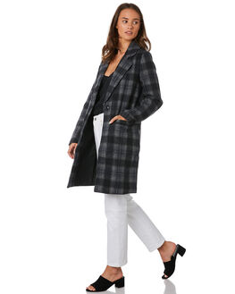CHARCOAL PLAID WOMENS CLOTHING ALL ABOUT EVE JACKETS - 6433054CHK