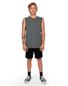 BLACK MENS CLOTHING RVCA SINGLETS - RV-R192001-BLK