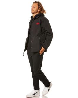 BLACK MENS CLOTHING HUF JACKETS - JK00218-BLACK