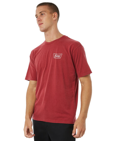 BURGUNDY MENS CLOTHING BRIXTON TEES - 06560BRGDY