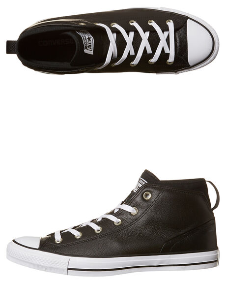 081afea577a2 Converse Chuck Taylor All Star Syde Leather Hi Shoe - Black White ...